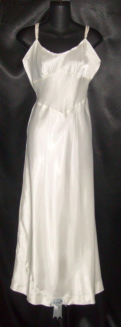 Vintage floor length satin bridal slip 34 for White silk slip wedding dress